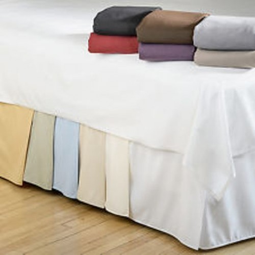 12 Inches Drop White Skirt Split Corner Pleated Egyptian Cotton 1000tc